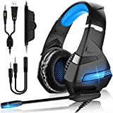 Auriculares Gaming PS4,Cascos Gaming de Mac Estéreo con Micrófono Cascos Gaming 3.5mm Jack con Luz...