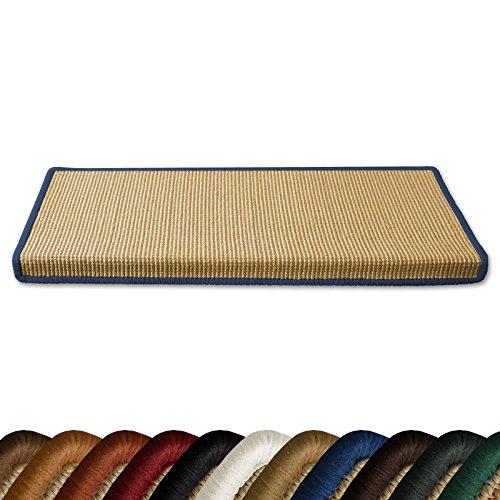casa pura Kit de 15 marchettes escalier rectangulaires en sisal 100% Naturel | 11 Couleurs | 23,5 x 65 cm | Bordure Coton Bleu