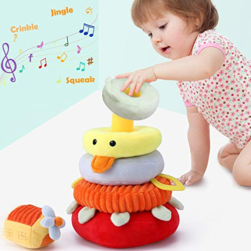iPlay, iLearn Baby Stacking Toys, Soft Fabric Ring Stacker, Plush Duck Nesting Toy W/ Sound, Development Sensory, Birthday Gift for 3 6 9 12 18 Months 1 Year Olds Infant Toddler Boy Girl Newborn