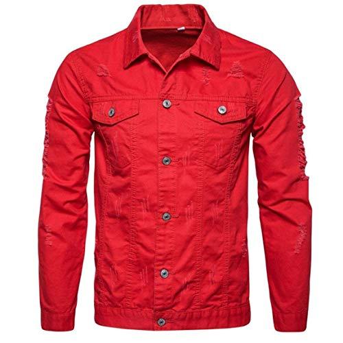 Männer Nner Herbst Langarm Demin Outwear,Moonuy Herren Winter Langarm Demin Kleidung Jacke Tops Outwear Neue Style Demin Shirt (Color : Rot, Size : L)