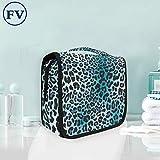Estampado De Leopardo Negro Azul Bolsa de Aseo Colgante Organizador Cosmético de Viaje Ducha Bolsa de Baño Neceser de Viaje para Maquillaje niñas Mujeres
