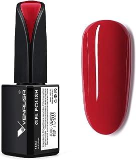 VENALISA 15ml Gel Nail Polish, Carmine Red Color Soak Off UV LED Nail Gel Polish Nail Art Starter Manicure Salon DIY at Ho...