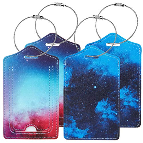 4 Pack Luggage Tags with Full Privacy Cover Stainless Steel Loop for Travel Bag Suitcase (Starry Sky)