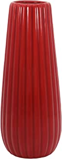 Gemseek Red Ceramic Flower Vase, 8 inch Tall Decorative Table Floral Vase for Living Room Indoor Home Decor, Wedding Centerpieces/Arrangements