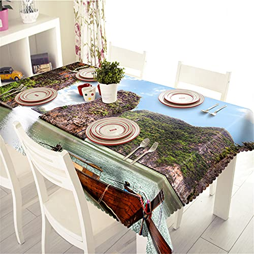 YGHBKL Blue Sky Alpine Boat Landscape 3D Tablecloth Polyester Rectangular Tablecloth Picnic Fabric Main Decoration 140 x 220 cm