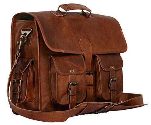 Leather briefcase laptop bag messenger satchel 16 Inch best Handmade Leather bag by Komal s passion leatherSALE, Brown, Large