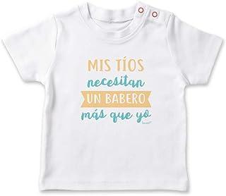 SUPERMOLON Camiseta bebé Mis tíos necesitan un babero más que yo Blanco 0-1 años