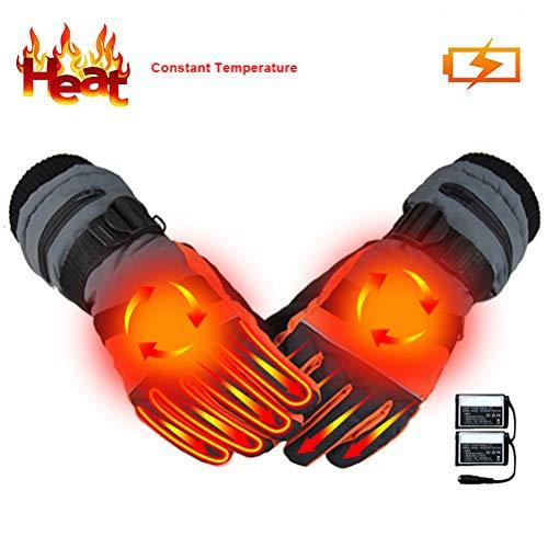 Guantes calefactados con USB, temperatura constante, eléctricos, térmicos, recargables, resistentes al agua, guantes unisex de invierno aislados para actividades al aire libre, naranja