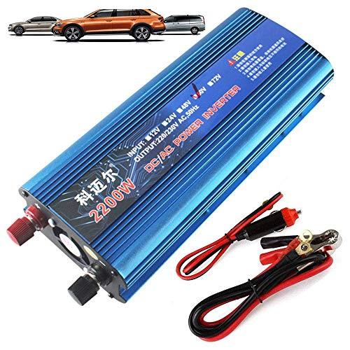 Inversor de corriente de coche de onda sinusoidal modificada 2200w, inversor de coche DC 12 V / 24 V / 36 V / 48 V / 60 V / 72 V AC 220 V / 230 V / 240 V convertidor de voltaje, con conexión USB y AC