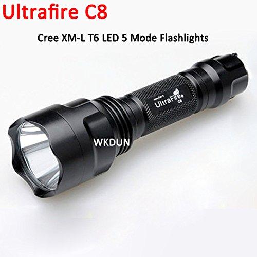 Lampe torche LED C8 Cree XML XM-L T6 1000 lumens 5 modes (Hi-Me-Lo-S-SOS) pour camping 1 x 18650 Blanc