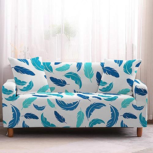 Fundas Sofas 3 y 2 Plazas Ajustables Hojas Blancas Azules Fundas para Sofa Ajustables Funda Sillon Spandex Lavables Cubre Sofas Chaise Longue Modernas Funda Sofá Universal Fundas de Sofa Espesas