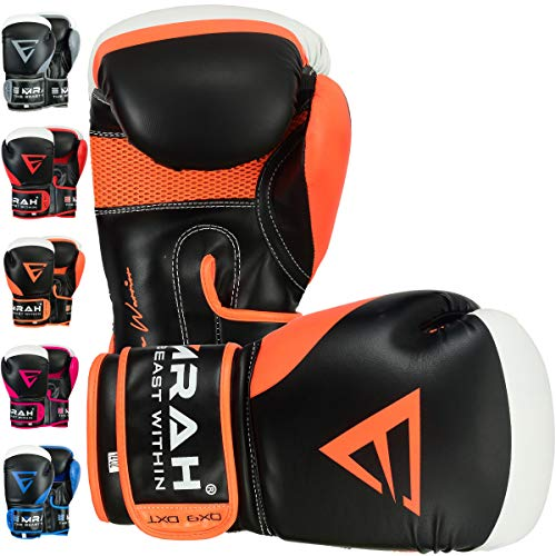 EMRAH Charged V-2 Boxhandschuhe Muay Thai Training Sparring Boxsack Mitts Kickboxen Kämpfen Boxing Gloves (Orange, 16 oz)