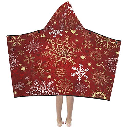 Naps Throw Blanket Christmas Red Seamless Pattern con oro y blanco Manta con capucha para niños Toallas de baño Throw Wrap para niños pequeños Niño Niña Niño Viaje en casa Sueño Sofá Manta de tiro