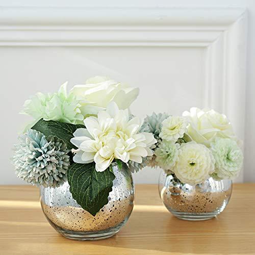 Lynnsdecor Set of 3 Bling Vase Round Golden Vase Silver Vase Rose Gold Vase Table Vase Party Vase Wedding Vase Centerpiece