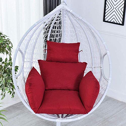 Round Hanging Wicker Rattan Chair Cushion Swing Egg Nest Seat Cushion Solid Patio Seat Cushion Tufted Floor Cushion Throw Pillow (Color : Red, Size : 66x45cm(26x18inch))