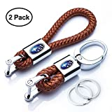 Goshion 2Pack Genuine Leather Car Logo Keychain Suit for Subaru Key Chain Keyring Family Present for Man and Woman