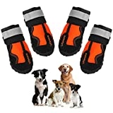 Ufanore Dog Boots, Waterproof Dog Shoes with Reflective and Adjustable Velcro Rugged Non-Slip Sole for Outdoor & Indoor Suitable for Small to Large Dogs 4 Pcs (3#: 1.77' (Width) for 22-30 lbs, Orange)