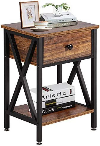 VECELO Modern Versatile Nightstands X Design Side End Table Night Stand Storage Shelf with Bin product image