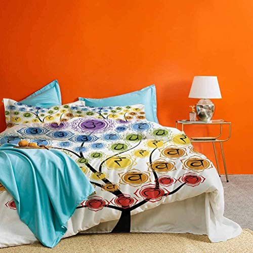 prunushome Chakra 3 Piece Duvet Cover Tree with Branch of Chakra Icon Harmony in Nature Physical Force Theme Print Modern All Season Quilt Set Multicolor (1 Duvet Cover 2 Pillow Shams) Full Size
