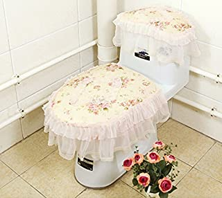 Practical 3-piece Tank Cover, Toilet Seat Cover Set Fabric lace Zippered Toilet Seat Cover Set Bathroom Toilet Decor Toilet Seat Cover Toilet Mat,Toilet Seat cushion Cleaning Pad Cover,Toilet seat ring£¬flowers