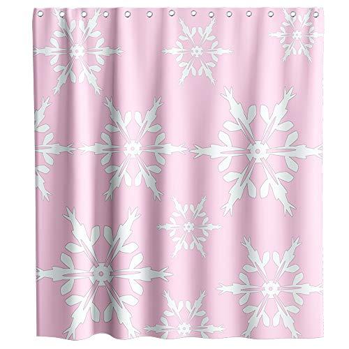 Weihnachten Duschvorhang Winter Schneeflocke Muster Stoff Badezimmer Dekor Sets mit Haken Wasserdicht Waschbar 177,8 x 177,8 cm Rosa