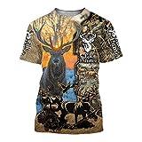 BBYaki Hunter Camiseta para Hombre del Animal Ciervos/Wolf/Pato/Coyote/Cabra/Elk Caza 3D Impreso Harajuku Verano Las Tapas Ocasionales De La Manga Corta,Elk Hunter,Asian XL