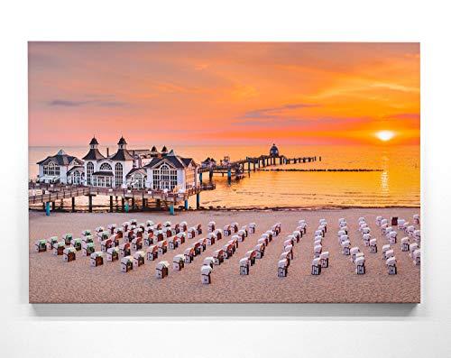Atemberaubendes Ostsee Bild als Panorama Leinwand 150x50cm, Motiv Sellin Seebrücke. EIN einzigartiges XXL Wandbild als Deko für Wohnzimmer, Schlafzimmer, Küche. Aufgespannt auf Holzrahmen