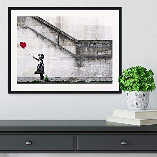 Banksy There is Always Hope - Póster enmarcado (45 x 30 cm), color negro