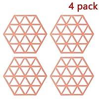 絶縁マット家庭用テーブルは、抗やけどボウルパッドプレートパッド耐熱皿マットクリエイティブ防水コースター配置マット六角4点セットマット (Color : Red, Size : Triangular hexagon)