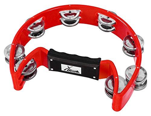 XDrum Hand Tambourin Halbmond Form (Tambourine, Pecussion, 16 Paar verchromte Schellen, Kunststoff) rot