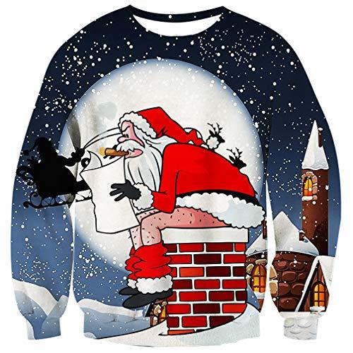 UNIFACO Unisex Ugly Christmas Jumper 3D Gedruckt Weihnachten Pullover Sweatshirt Xmas Langarmshirt