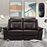 2 Seater Recliner Sofa - Double Reclining Loveseat with Massage & Heating - PU Leather Home Theater Seating Manual Recliner Motion Living Room Chair Brown