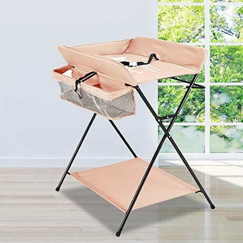 Cambiador plegable para bebé, con compartimentos de almacenamiento, cinturón de seguridad, se utiliza como cambiador y mesa de masaje para bebés (color caqui sin ruedas)