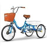 Triciclo de Adultos Triciclo Adulto Triciclo Adulto Tres Ruedas Bicicleta 20 Pulgadas Cesta De Carga De 3 Ruedas Bicicleta De Bicicleta Bicicleta Para Personas Mayores Mujeres Hombres Trik(Color:azul)
