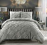 Bettbezug-Set mit Kissenbezügen, müheloszu waschen, atmungsaktiv, luxuriös, Vintage, Polybaumwolle, mit Faltenfalte, Biese, Diamant-Design, silberfarben, Doppelbett