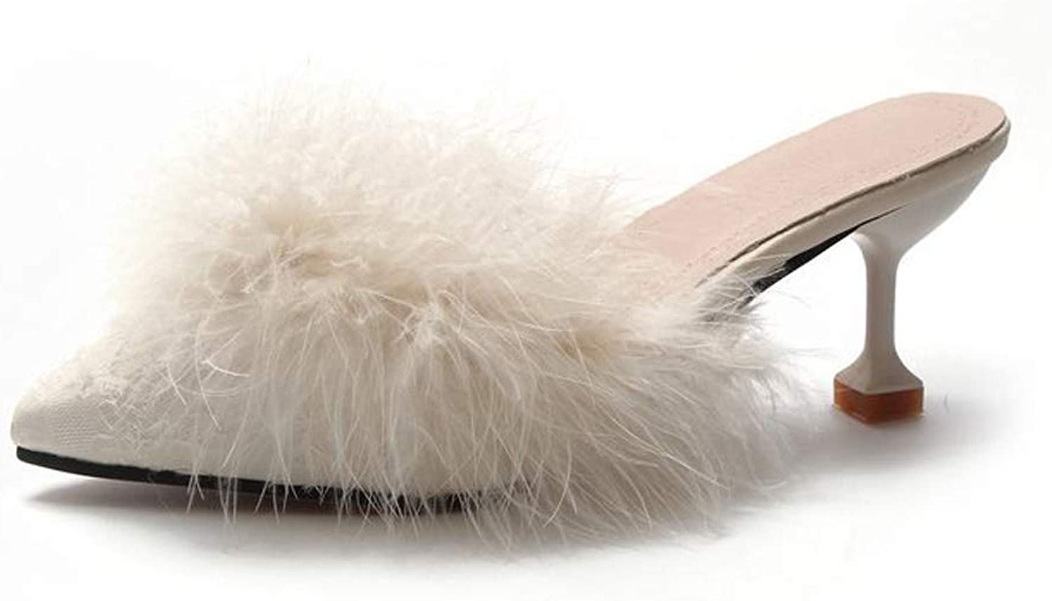 Women's Slippers Sexy Pointed Toe Flip Flops High Heel shoes Slippers Autumn Outdoor(Black Pink Beige)