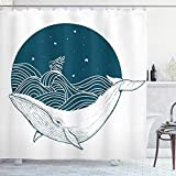 SYLZBHD Cortina de Ducha de Ballena Ballena Grande Nadando en un océano Ondulado con Estrellas y Arte de Barco Antiguo con impresión de Arte de baño Set de decoración W90xH180cm