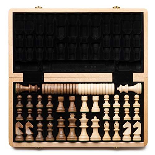 alvis Plegables de Madera Internacional de Ajedrez Juego de Piezas Set Juego de Mesa Divertido Juego de ajedrez Colección portátil Juego de Mesa de Regalos Ajedrez Internacional