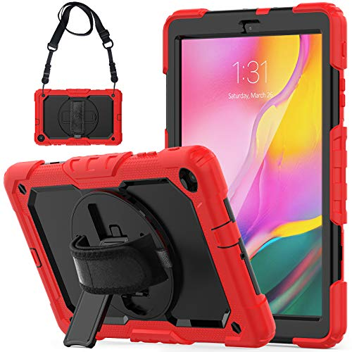 Galaxy Tab A 10.1 Case 2019 SM-T510/T515 with Screen Protector, SEYMCY Shockproof 360 Rotating Hand Strap Stand Kids Case with Shoulder Strap for Samsung Galaxy Tab A 10.1 2019 SM-T510/T515(Black/Red)