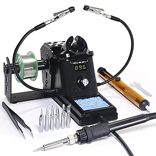 YIHUA 926 III 60W Digital Display Soldering Iron Station Kit w 2 Helping Hands, 6 Extra Iron Tips, 50g Lead-Free Solder, Solder Sucker, S/S Tweezers, °C/ºF Conversion, Auto Sleep & Calibration Support