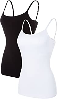 Sociala Women's Basic Cotton Camisole Shelf Bra Layering Cami Tank Tops 2 Pack