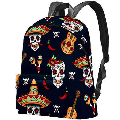 Kinder-Rucksack mit Totenköpfen und Blumen auf dunklem Hintergrund, für Teenager, Mädchen Totenköpfe mit Chili Pfeffer auf einem blauen Hintergrund 17.3x13.7x5.5 in