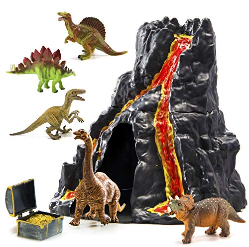 Prextex Lava-Painted Volcano House with Hidden Door and 5 Dinosaurs with Treasure Box Dinosaur Toys for Kids