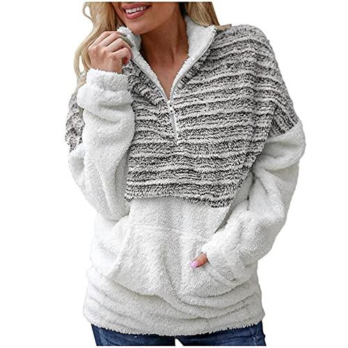 Henley - Felpa da donna con zip reversibile, a maniche lunghe, con blocco di colore, con zip, Caff, S