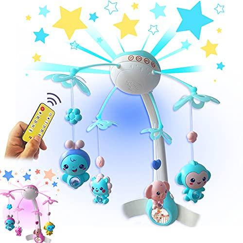 Level Up SW Juguete Carrusel Cuna Luz y Música para Bebe con Proyectores de Luz, 8 Voces de Animales y 500 Canciones Musicales para Dormir, Incluye Control Remoto. (Azul)