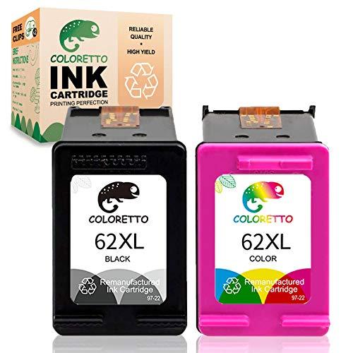 COLORETTO Cartuccia inchiostro stampante rigenerata di ricambio per HP 62 XL 62XL (1 Nero,1 Tricromia) Compatibile con Officejet 200c 200 250 Envy 5544 5540 5545 5546 5640 5644 5646 7640 200 5541