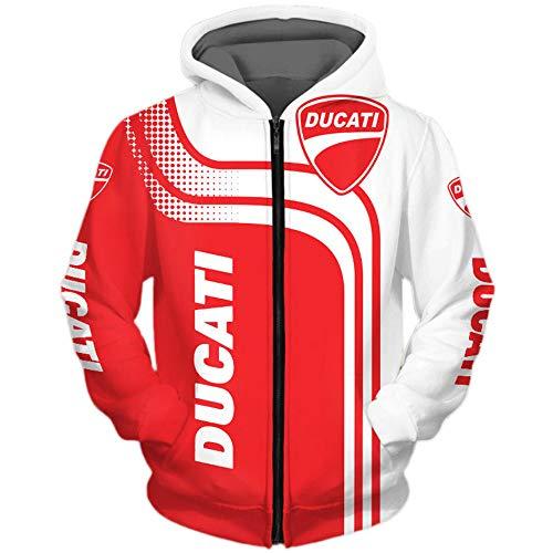 CONVERMPU Felpa con Cappuccio Giacca Uomo & Donna For Duc.A-Ti 3D Pieno Stampa Cardigan Magro Casuale Poliestere Sweatshirt Maglione/B/XL