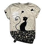 T-Shirt Para Mujer Impreso 3D Camisetas Verano Casual Manga Corta Blusa para Damas Blusa Moda Casual 3D Camiseta con Estampado de Gato Dibujos Animados Ropa de San Valentín,T-Shirts de Amigos y Equipo