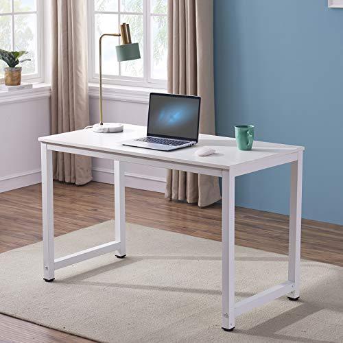 Symylife Escritorio para computadora Moderno Mesa de Trabajo Mesa para computadora Estación de Trabajo Escritorio de Oficina con Madera y Metal Acero, 120x60x75cm, Blanco