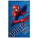 Disney Spiderman Wall Drap de Plage, Coton, Bleu, 120x70 cm